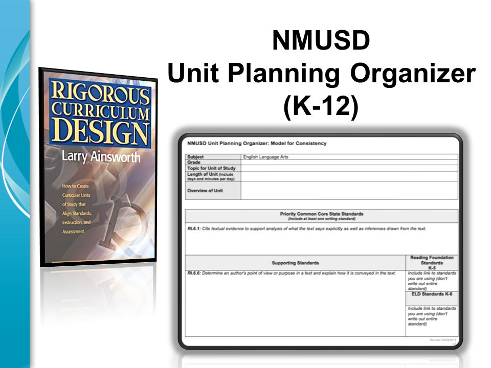 NMUSD Unit Planning Organizer (K-12)