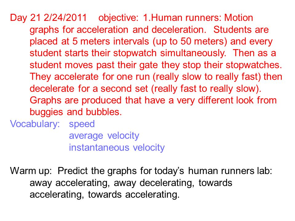 Day 21 2/24/2011objective: 1.Human runners: Motion graphs for acceleration and deceleration.