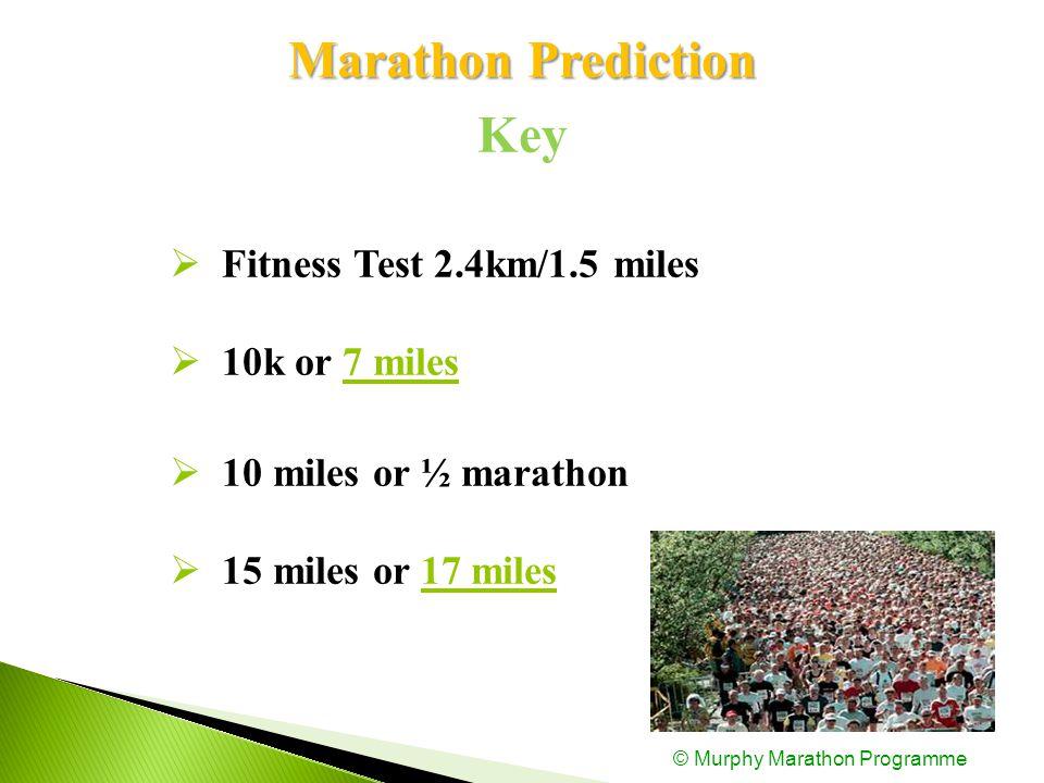 Marathon Prediction Key  Fitness Test 2.4km/1.5 miles  10k or 7 miles  10 miles or ½ marathon  15 miles or 17 miles © Murphy Marathon Programme
