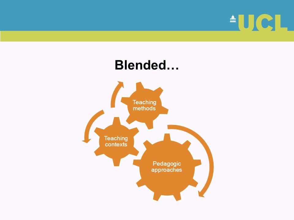 Blended… Pedagogic approaches Teaching contexts Teaching methods