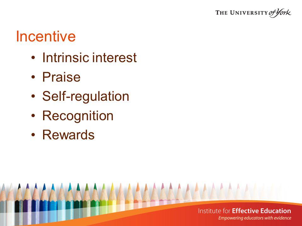 Incentive Intrinsic interest Praise Self-regulation Recognition Rewards