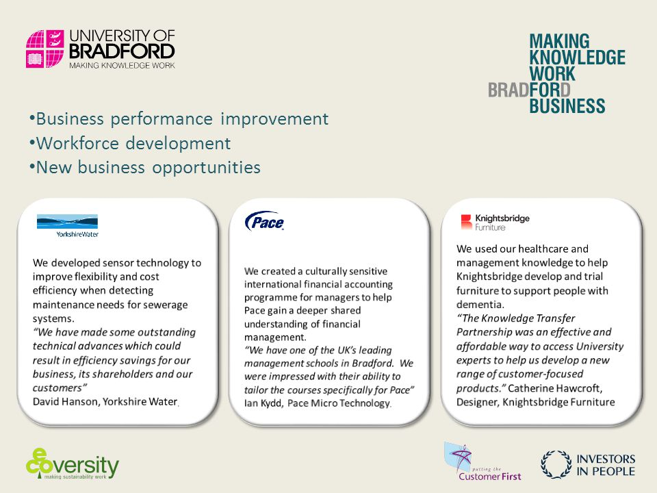 Business performance improvement Workforce development New business opportunities