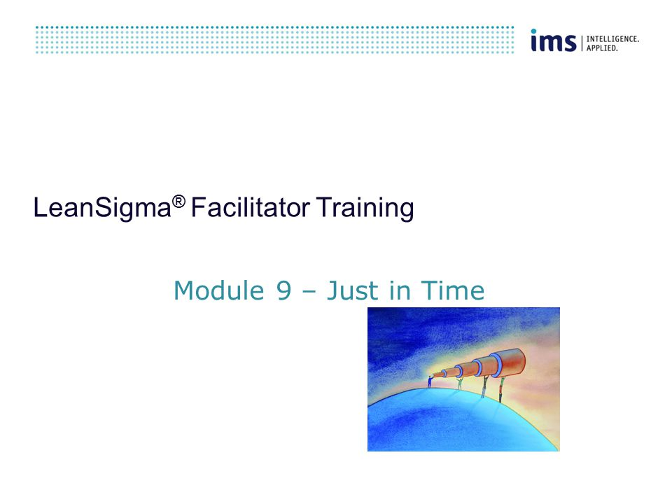 LeanSigma ® Facilitator Training Module 9 – Just in Time