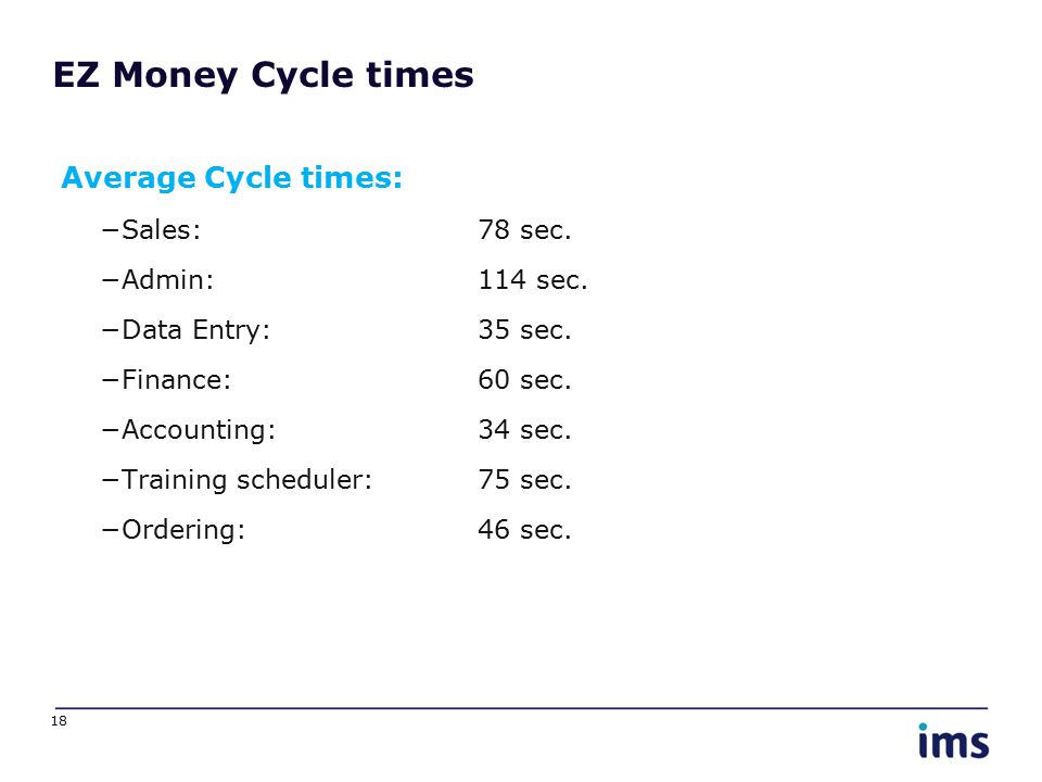 EZ Money Cycle times Average Cycle times: −Sales: 78 sec. −Admin: 114 sec. −Data Entry: 35 sec. −Finance: 60 sec. −Accounting: 34 sec. −Training sched