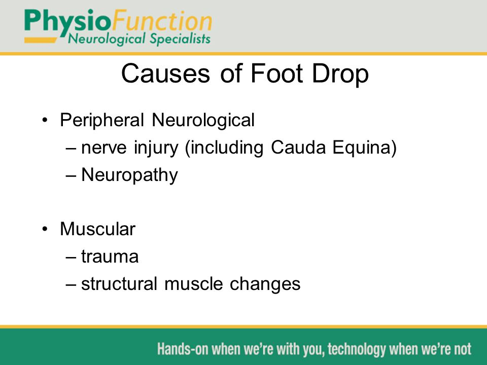 Causes of Foot Drop Peripheral Neurological –nerve injury (including Cauda Equina) –Neuropathy Muscular –trauma –structural muscle changes