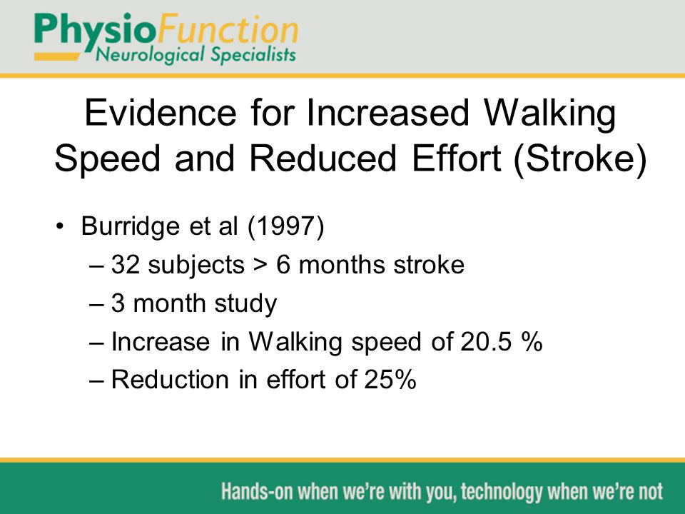 Evidence for Increased Walking Speed and Reduced Effort (Stroke) Burridge et al (1997) –32 subjects > 6 months stroke –3 month study –Increase in Walking speed of 20.5 % –Reduction in effort of 25%