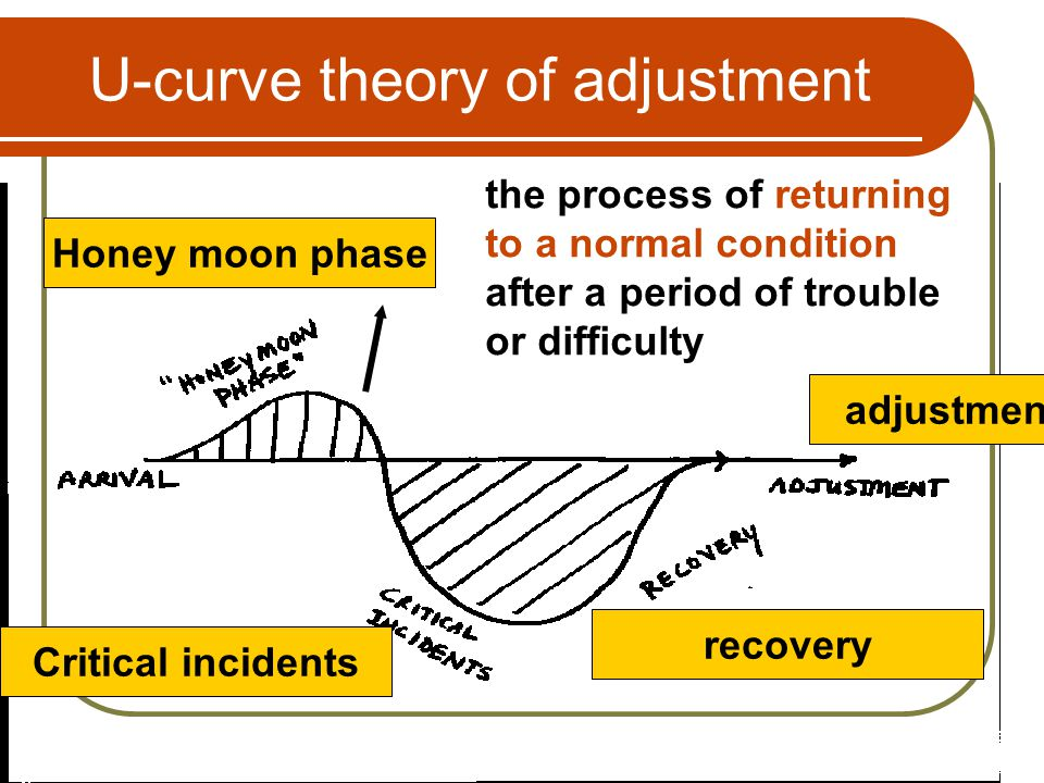 U-curve theory of adjustment Honey moon phase the process of returning to a normal condition after a period of trouble or difficulty Critical incident