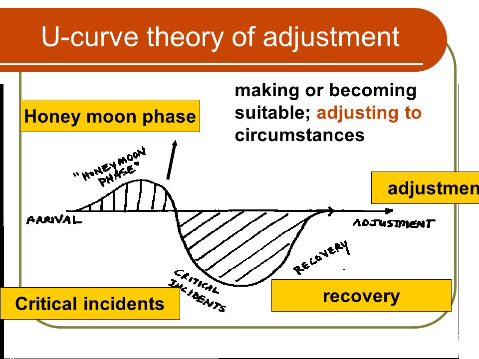 U-curve theory of adjustment Honey moon phase making or becoming suitable; adjusting to circumstances Critical incidents recovery adjustment