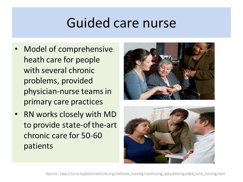 Guided care nurse Model of comprehensive heath care for people with several chronic problems, provided physician-nurse teams in primary care practices