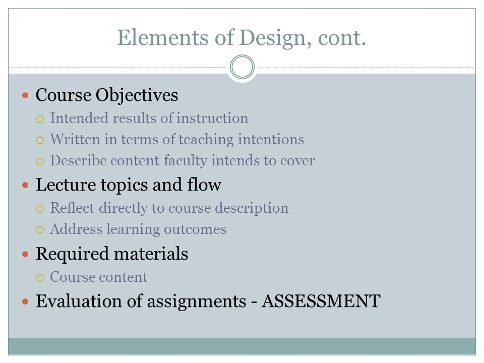 Elements of Design, cont.
