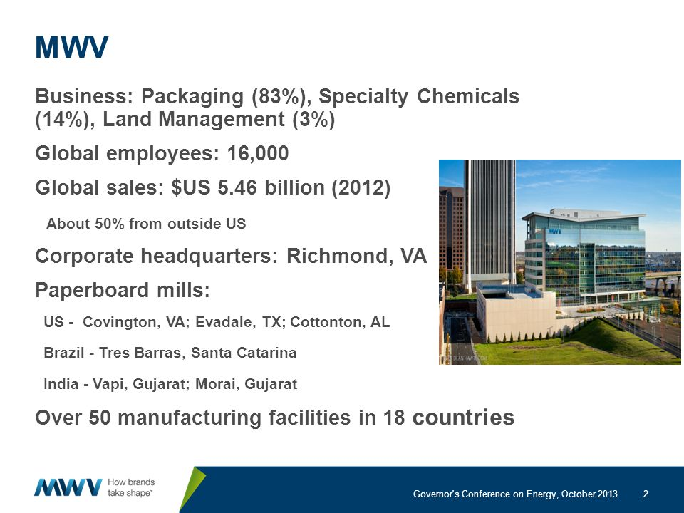2 MWV Business: Packaging (83%), Specialty Chemicals (14%), Land Management (3%) Global employees: 16,000 Global sales: $US 5.46 billion (2012) About 50% from outside US Corporate headquarters: Richmond, VA Paperboard mills: US - Covington, VA; Evadale, TX; Cottonton, AL Brazil - Tres Barras, Santa Catarina India - Vapi, Gujarat; Morai, Gujarat Over 50 manufacturing facilities in 18 countries Governor s Conference on Energy, October 2013