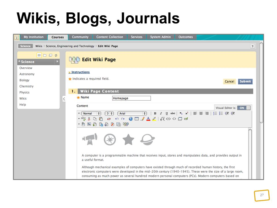 27 Wikis, Blogs, Journals