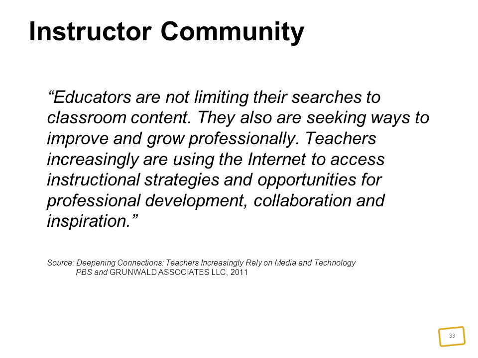 33 Instructor Community Educators are not limiting their searches to classroom content.