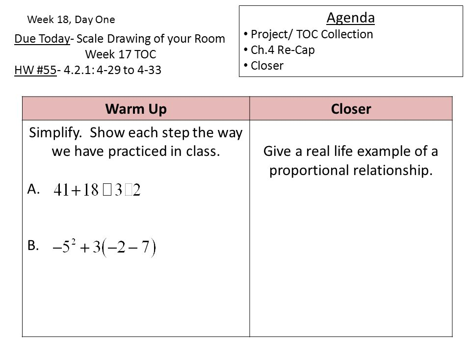 Due Today- Scale Drawing of your Room Week 17 TOC HW #55- 4.2.1: 4-29 to 4-33 Week 18, Day One Agenda Project/ TOC Collection Ch.4 Re-Cap Closer Warm UpCloser Simplify.