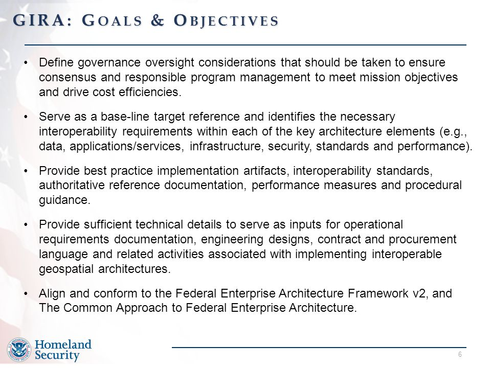 6 Define governance oversight considerations that should be taken to ensure consensus and responsible program management to meet mission objectives and drive cost efficiencies.