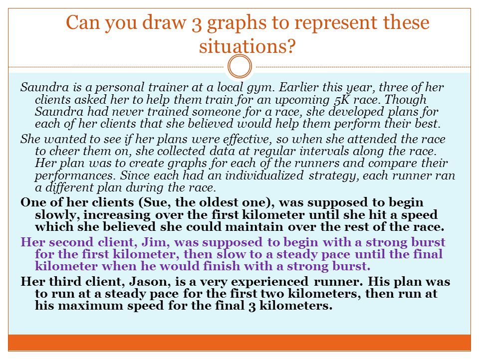 Can you draw 3 graphs to represent these situations? Saundra is a personal trainer at a local gym. Earlier this year, three of her clients asked her t