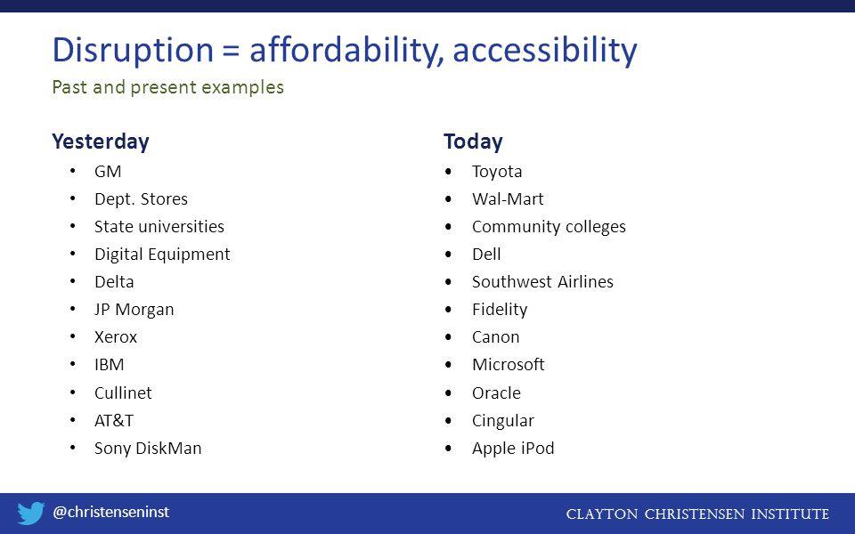 CLAYTON CHRISTENSEN INSTITUTE @christenseninst Disruption of Toyota From hyundaiusa.com May 5, 2013