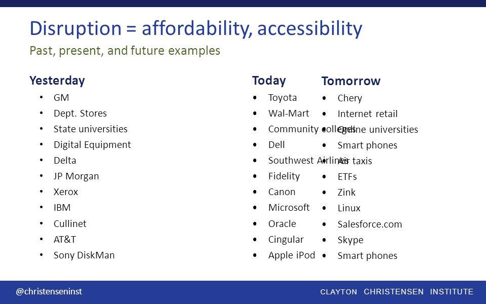 Clayton christensen institute @christenseninst How does disruptive innovation relate to K12 education?