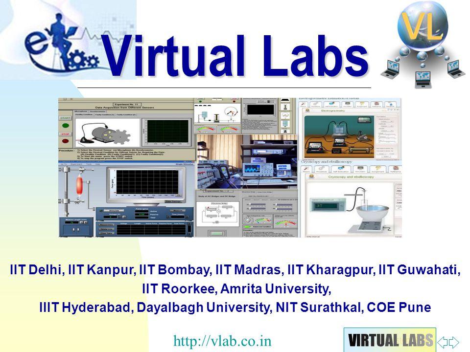Zurück zur ersten Seite IIT Delhi, IIT Kanpur, IIT Bombay, IIT Madras, IIT Kharagpur, IIT Guwahati, IIT Roorkee, Amrita University, IIIT Hyderabad, Dayalbagh University, NIT Surathkal, COE Pune Virtual Labs VIRTUAL LABSVIRTUAL LABS http://vlab.co.in