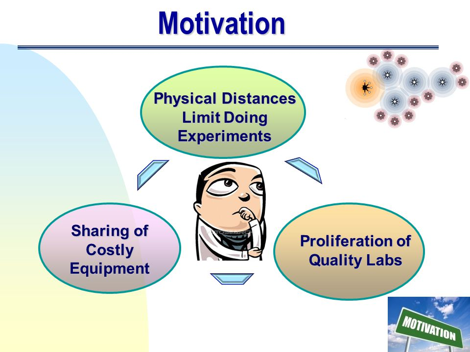 Motivation Physical Distances Limit Doing Experiments Sharing of Costly Equipment Proliferation of Quality Labs