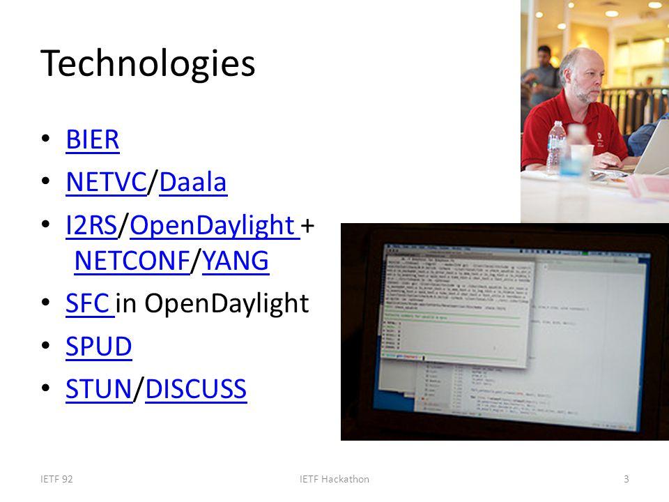 Technologies BIER NETVC/Daala NETVCDaala I2RS/OpenDaylight + NETCONF/YANG I2RSOpenDaylight NETCONFYANG SFC in OpenDaylight SFC SPUD STUN/DISCUSS STUNDISCUSS IETF 92IETF Hackathon3