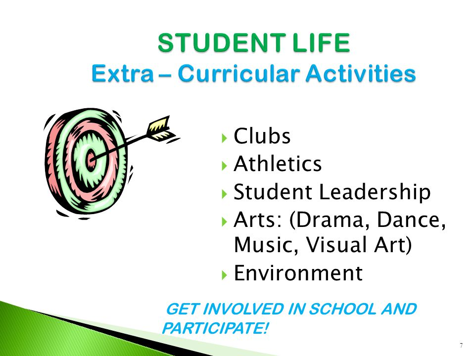 Clubs  Athletics  Student Leadership  Arts: (Drama, Dance, Music, Visual Art)  Environment 7 GET INVOLVED IN SCHOOL AND PARTICIPATE!
