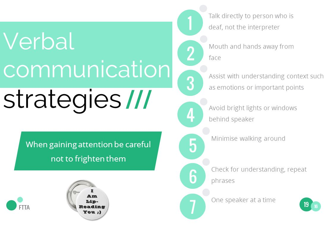 Verbal communication strategies /// Mouth and hands away from face 2 Assist with understanding context such as emotions or important points 3 Avoid bright lights or windows behind speaker FTTA Minimise walking around 5 Check for understanding, repeat phrases 6 One speaker at a time 7 Talk directly to person who is deaf, not the interpreter 1 When gaining attention be careful not to frighten them