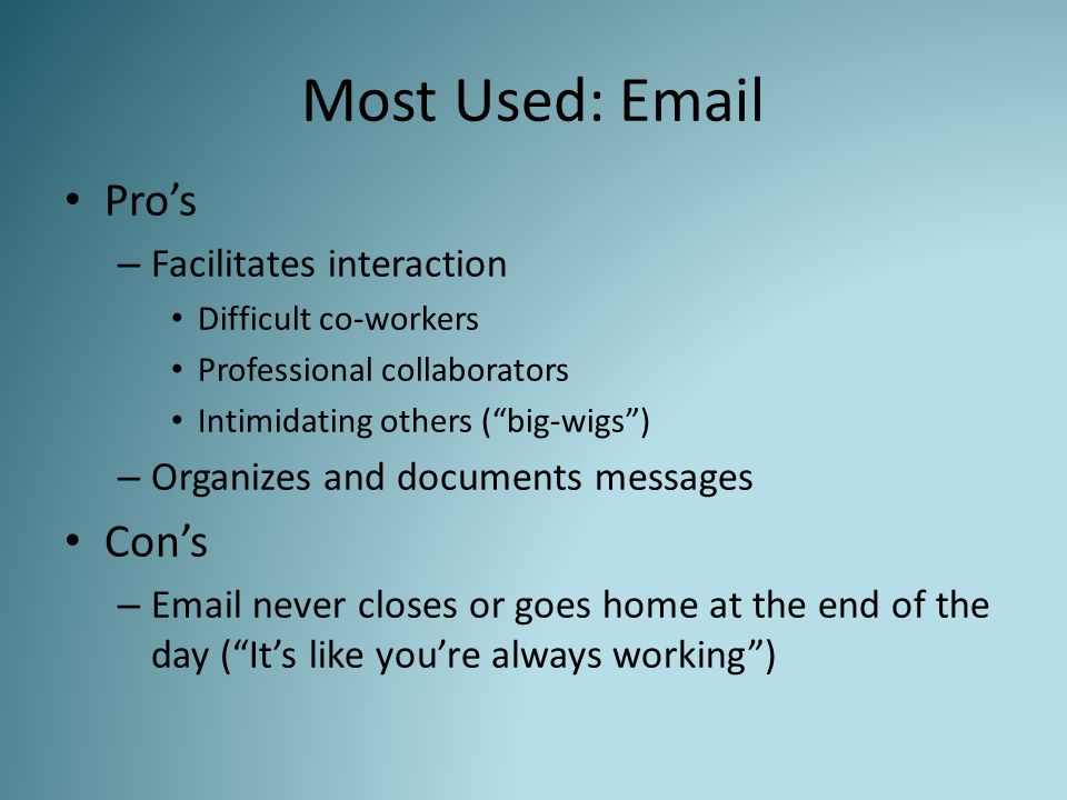"""Most Used: Email Pro's – Facilitates interaction Difficult co-workers Professional collaborators Intimidating others (""""big-wigs"""") – Organizes and docu"""