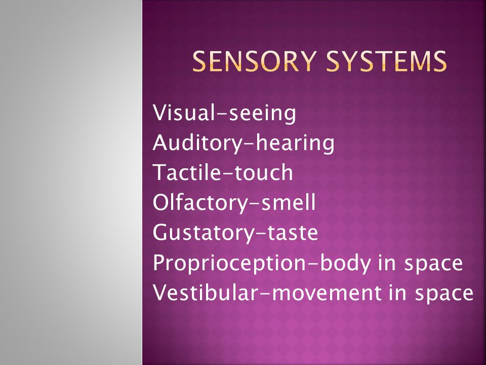 Visual-seeing Auditory-hearing Tactile-touch Olfactory-smell Gustatory-taste Proprioception-body in space Vestibular-movement in space