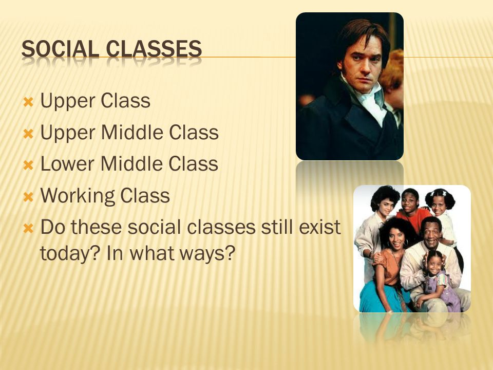  Upper Class  Upper Middle Class  Lower Middle Class  Working Class  Do these social classes still exist today.