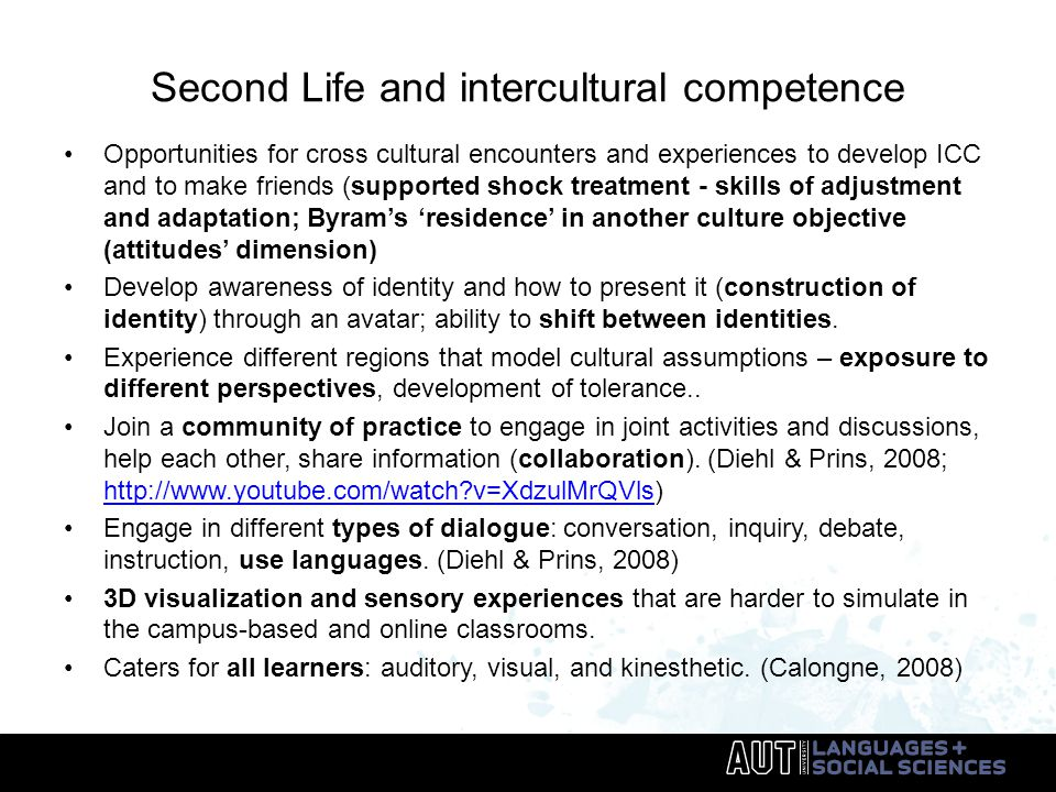Second Life and intercultural competence Opportunities for cross cultural encounters and experiences to develop ICC and to make friends (supported shock treatment - skills of adjustment and adaptation; Byram's 'residence' in another culture objective (attitudes' dimension) Develop awareness of identity and how to present it (construction of identity) through an avatar; ability to shift between identities.