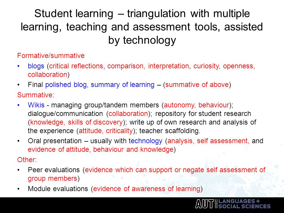 Student learning – triangulation with multiple learning, teaching and assessment tools, assisted by technology Formative/summative blogs (critical reflections, comparison, interpretation, curiosity, openness, collaboration) Final polished blog, summary of learning – (summative of above) Summative: Wikis - managing group/tandem members (autonomy, behaviour); dialogue/communication (collaboration); repository for student research (knowledge, skills of discovery); write up of own research and analysis of the experience (attitude, criticality); teacher scaffolding.