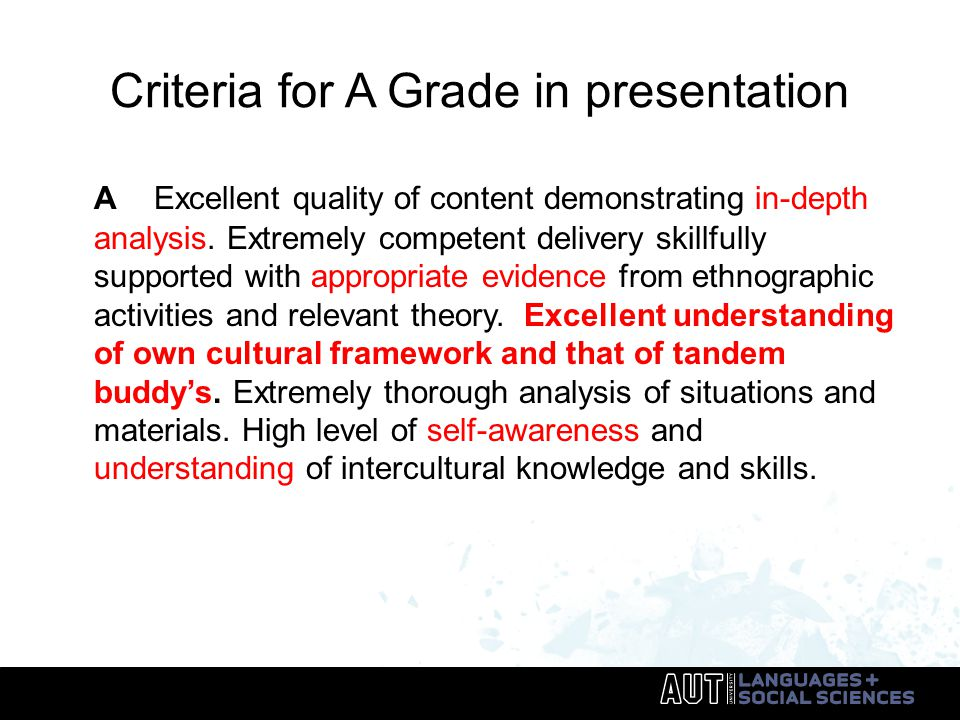 Criteria for A Grade in presentation A Excellent quality of content demonstrating in-depth analysis.