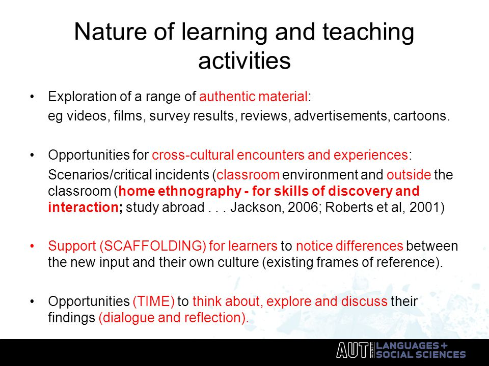 Nature of learning and teaching activities Exploration of a range of authentic material: eg videos, films, survey results, reviews, advertisements, cartoons.