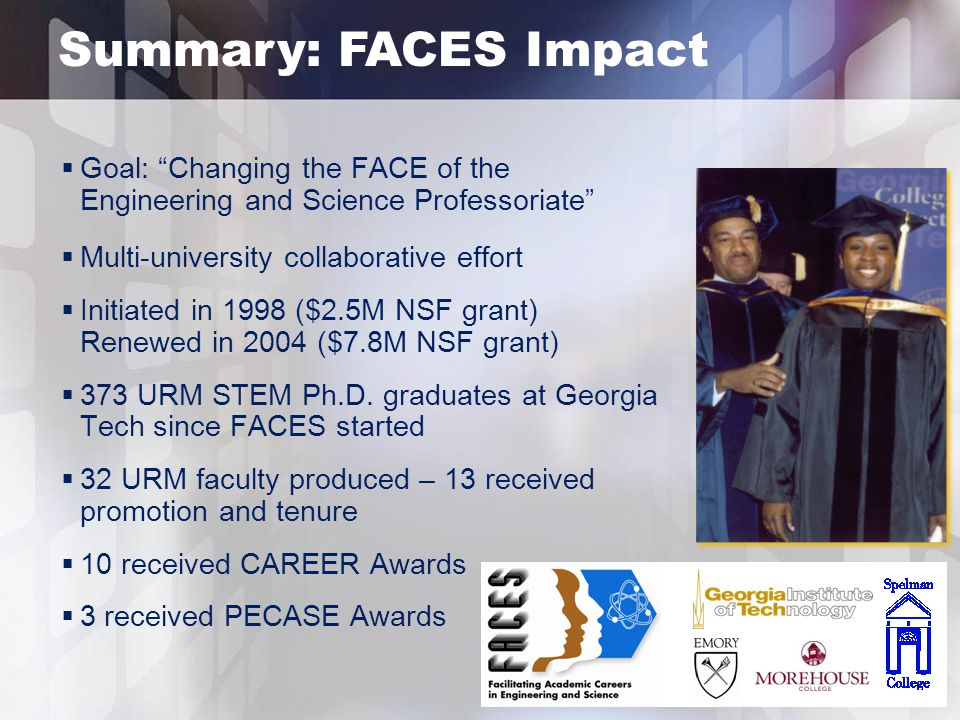 Summary: FACES Impact  Goal: Changing the FACE of the Engineering and Science Professoriate  Multi-university collaborative effort  Initiated in 1998 ($2.5M NSF grant) Renewed in 2004 ($7.8M NSF grant)  373 URM STEM Ph.D.