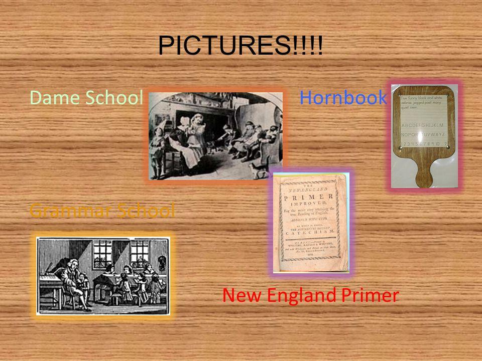PICTURES!!!! Dame School Hornbook Grammar School New England Primer
