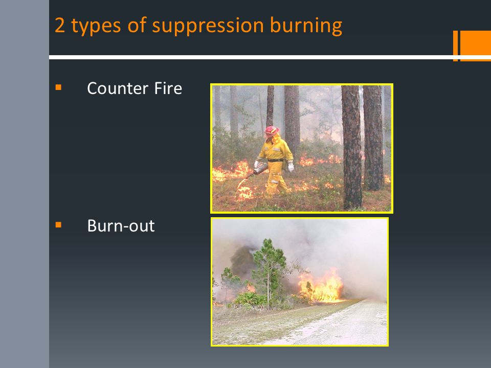 2 types of suppression burning  Counter Fire  Burn-out