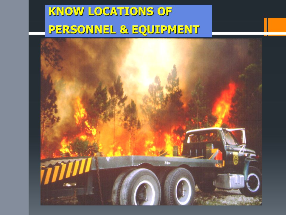 KNOW LOCATIONS OF PERSONNEL & EQUIPMENT