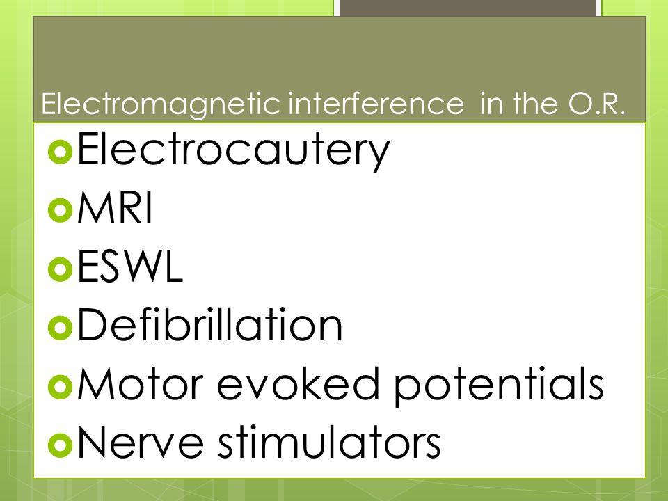 Electromagnetic interference in the O.R.  Electrocautery  MRI  ESWL  Defibrillation  Motor evoked potentials  Nerve stimulators