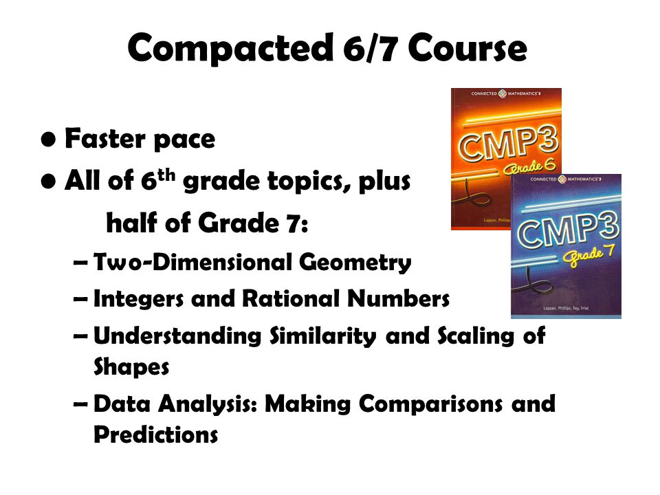 Compacted 6/7 Course Faster pace All of 6 th grade topics, plus half of Grade 7: –Two-Dimensional Geometry –Integers and Rational Numbers –Understanding Similarity and Scaling of Shapes –Data Analysis: Making Comparisons and Predictions