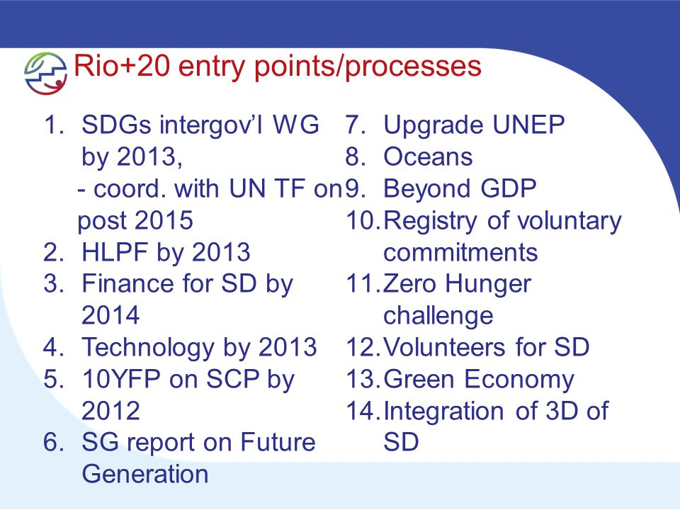 Rio+20 entry points/processes 1.SDGs intergov'l WG by 2013, - coord.
