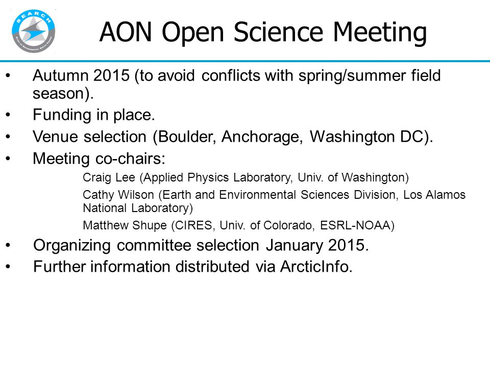 AON Open Science Meeting Autumn 2015 (to avoid conflicts with spring/summer field season).