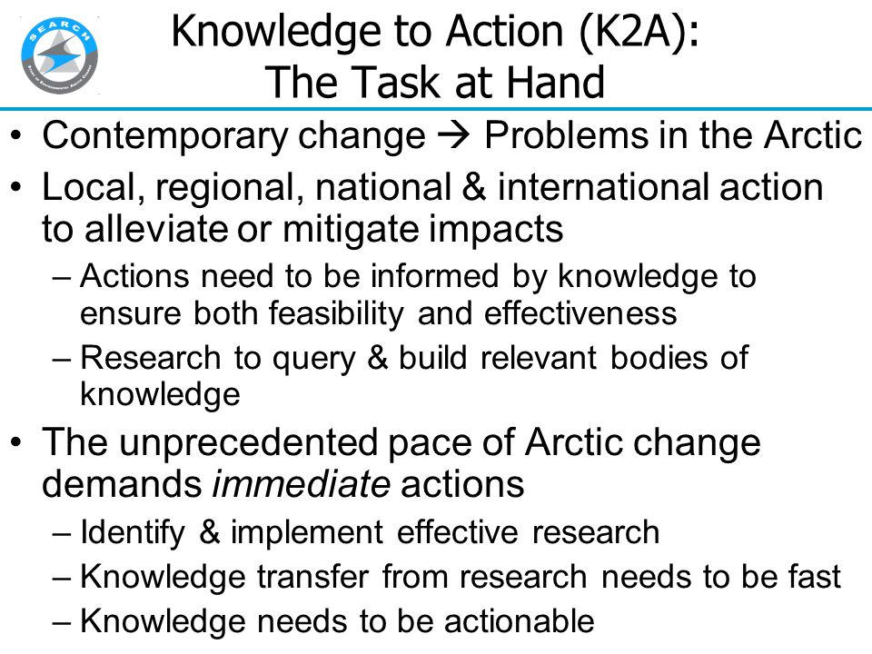 Traditional Scientific Research Approach Plan: Often hypothesis-driven; sometimes driven by scientists' agendas Observe Analyze Test/Validate Communicate How well does this work in responding to Arctic change?