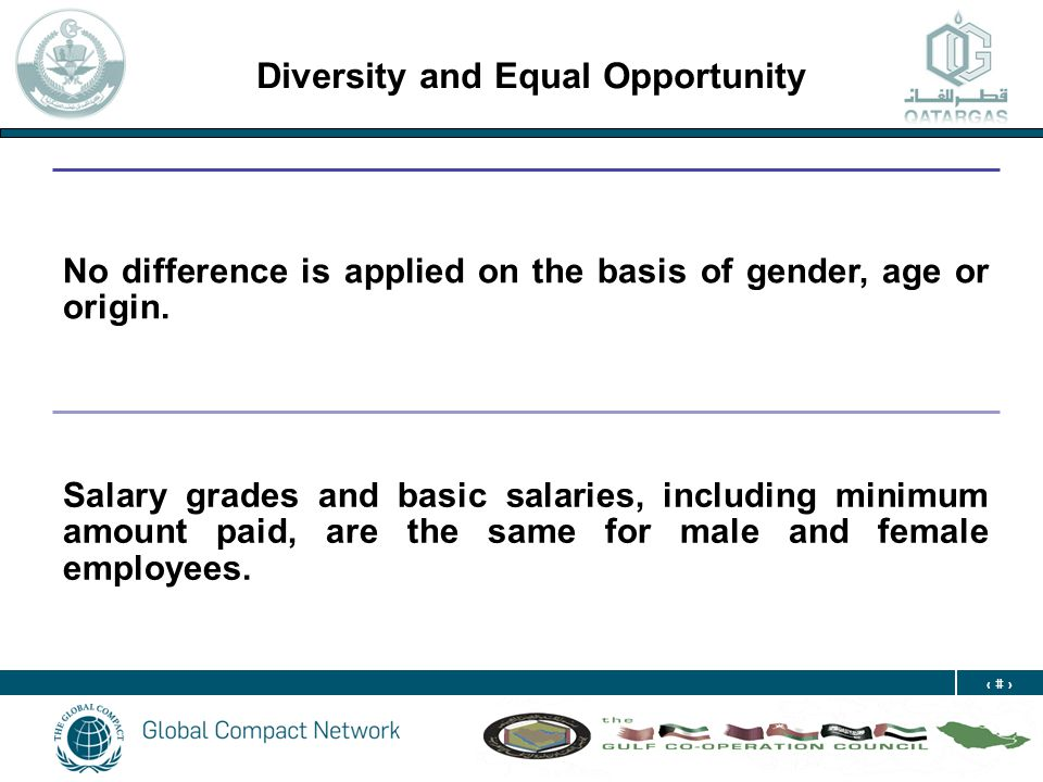 21 Diversity and Equal Opportunity No difference is applied on the basis of gender, age or origin. Salary grades and basic salaries, including minimum