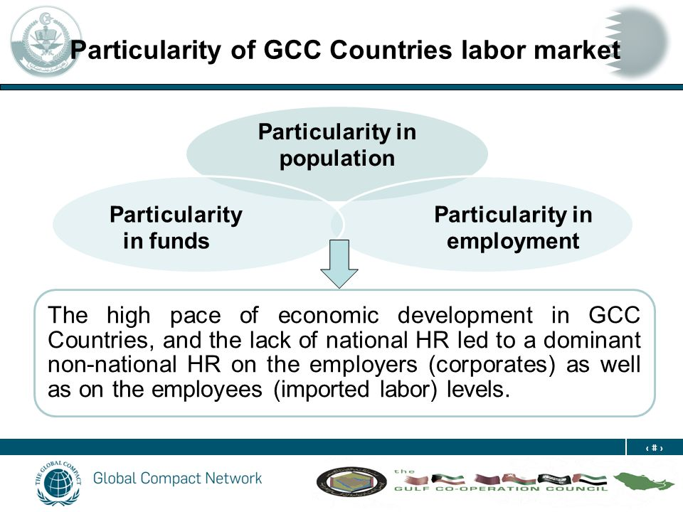 5 Particularity of GCC Countries labor market Particularity in population Particularity in employment Particularity in funds The high pace of economic development in GCC Countries, and the lack of national HR led to a dominant non-national HR on the employers (corporates) as well as on the employees (imported labor) levels.