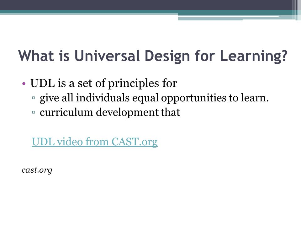 What is Universal Design for Learning.
