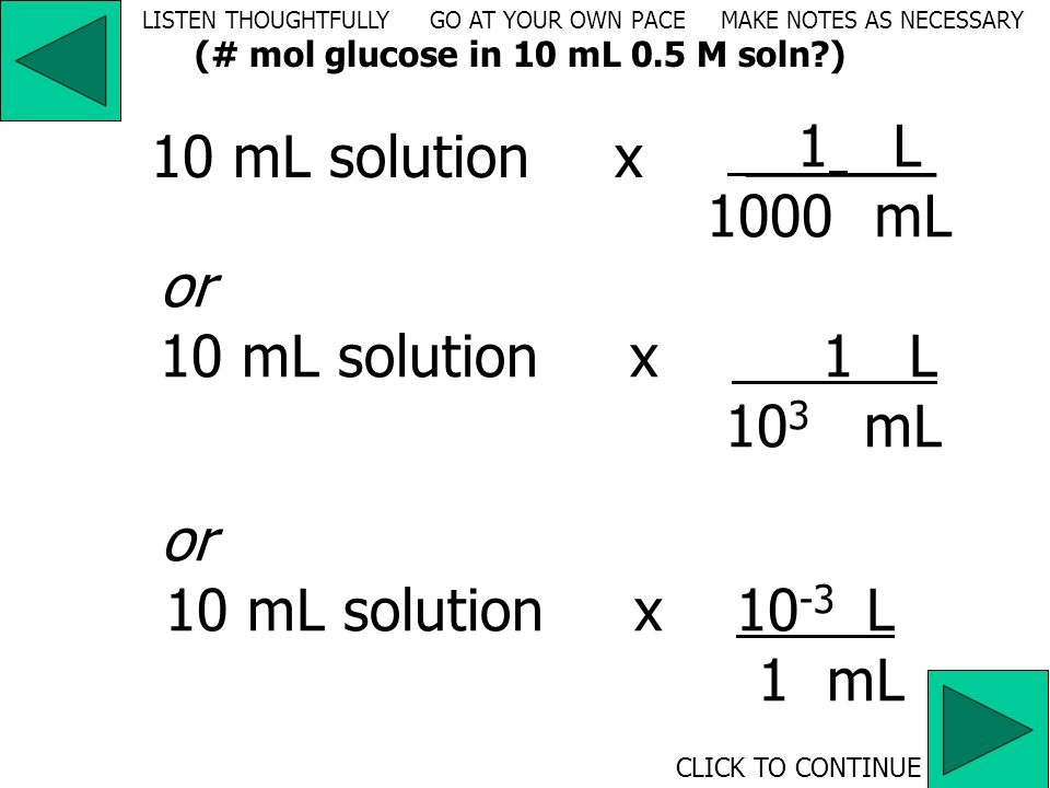 volume (mL) solution  volume (L) solution  moles solvent LISTEN THOUGHTFULLY GO AT YOUR OWN PACE MAKE NOTES AS NECESSARY CLICK TO CONTINUE (# mol glucose in 10 mL 0.5 M soln )