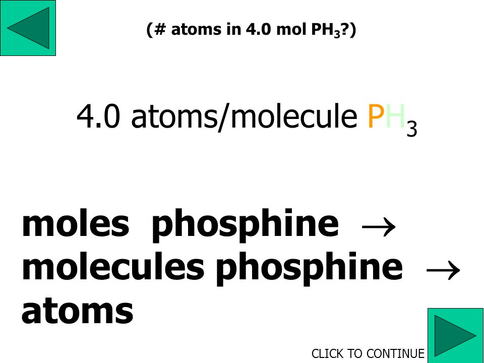 4. How many atoms are present in 4.0 moles of phosphine, PH 3