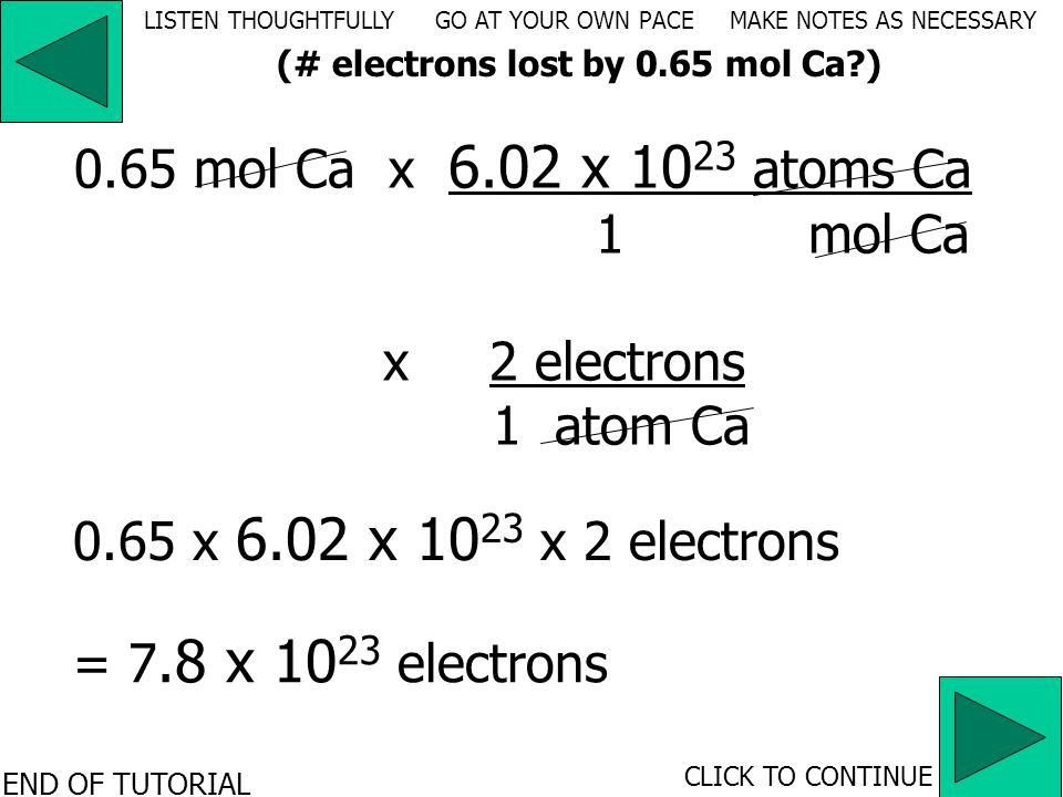 x electrons atom Ca 0.65 mol Cax __________________ atoms Ca mol Ca 6.02 x 10 23 1 2121 LISTEN THOUGHTFULLY GO AT YOUR OWN PACE MAKE NOTES AS NECESSARY CLICK TO CONTINUE (# electrons lost by 0.65 mol Ca )