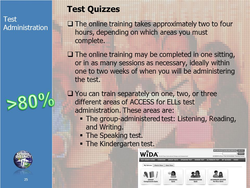 Test Administration Test Quizzes  The online training takes approximately two to four hours, depending on which areas you must complete.